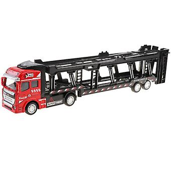 Die-cast Alloy Trailer Truck Pull Back Transporter Children's Toy Red