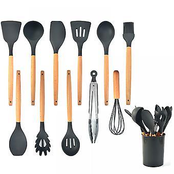 Silikoni keittiövälineet setti, 12kpl keittiövälineet lastasarja, ruostumattomasta teräksestä tarttumaton ruukkupidike, keittiötyökalu lahja (musta ja harmaa)