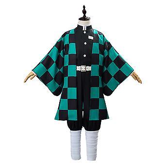 Children's Anime Demon Killer Mutsuki No Eight Leaves God Ado Tanjiro Cosplay Costume Kimono Cloak Full Set Halloween