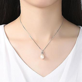 Necklace Genuine Natural Freshwater Pearl Pendant Genuine 925 Silver Necklace  Gift|Necklaces