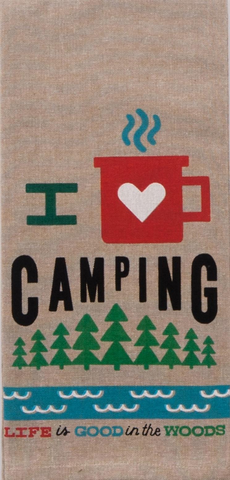 I Heart Camping Life is Good Chambray 28 Inch Kitchen Dish Tea Towel