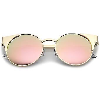 Premium Metal Cat Eye Sunglasses With Round Colored Mirror Flat Lens 51mm