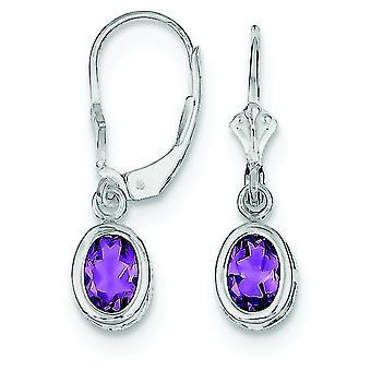 925 Sterling Silver Bezel Polished Open back 7x5mm Oval Amethyst Leverback Earrings Jewelry Gifts for Women