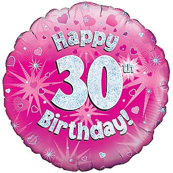 Oaktree 18 Inch Happy 30th Birthday Pink Holographic Balloon