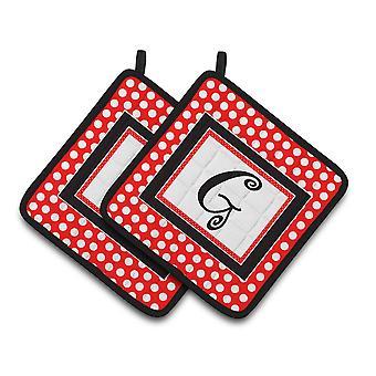 Letter G Initial Monogram Red Black Polka Dots Pair of Pot Holders