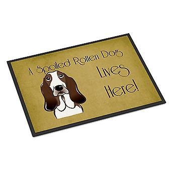 Basset Hound verwend hond leven hier Indoor of Outdoor Mat 18 x 27