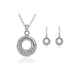 Womens Silver Necklace And Earings Matching Jewellery Set Crystal Stones
