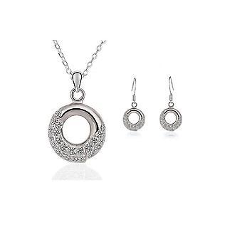 Damen Silber Halskette und Ohrringe Schmuck passend eingestellt Kristallsteinen