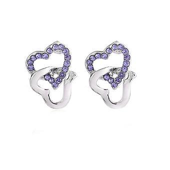 Womens Stud Earrings Purple Stones Chained Heart Diamante
