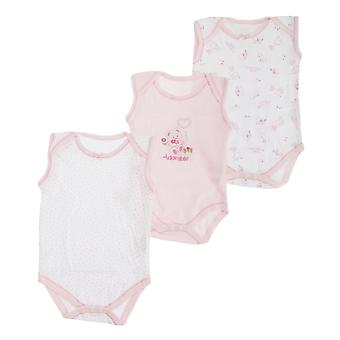Baby Girls Bear Pattern Sleeveless Bodysuits  (Pack Of 3)