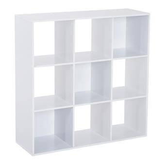 HOMCOM Chipboard 9 Compartments Cabinet Bookcase Storage Shelves Home Freestanding Eco-friendly Stable - White