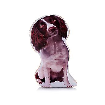 Adorable liver & white springer spaniel shaped midi cushion