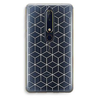 Nokia 6 (2018) caso transparente (Soft) - cubos preto e branco