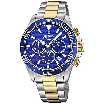 Festina Mens Two-tone Stainless Steel Chronograph Blue Dial F20363/2 Watch