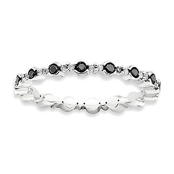 2.25mm 925 Sterling Silver Bezel Prong set Rhodium plated Stackable Expressions Polished Black White Diamond Ring Jewelr