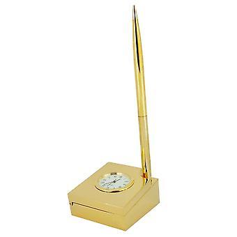 Cadeau tijd producten paperclip dienblad met Pen bureauklok - goud