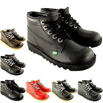 Unisex Kids Youth Kickers Kick Hi Back To School Leather Boots Shoes
