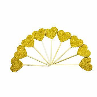TRIXES sett av 10 gull Glitter hjertet kake Toppers-Elegant jubileum bryllup engasjement dekorasjon-Festutstyr
