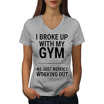 Sarcastic Gym Funny Women GreyV-Neck T-shirt | Wellcoda