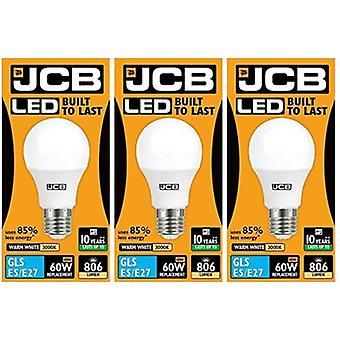 3 X JCB LED GLS Opal (Frosted) Household Light Bulb 10w Edison Screw 3000k Warm White[Energy Class A+]