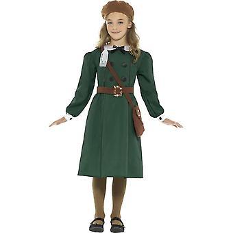 WW2 Evacuee Girl Costume, vert, avec la robe, chapeau, sac & porte-nom