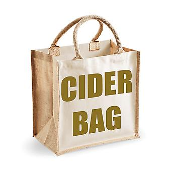 Medium Natural Gold Jute Bag Cider