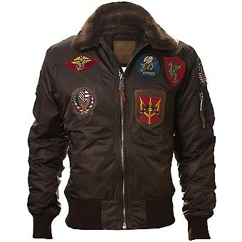Top Gun Official B 15 Mens Flight Bomber Jacket with Patches Brown