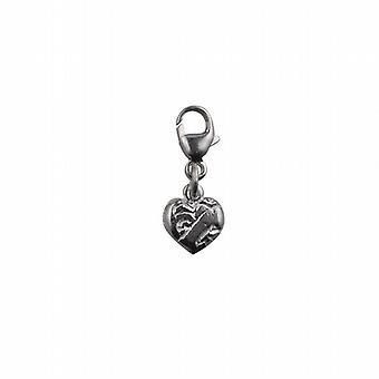 Simbolo del cuore d'argento 19x7mm della carità fascino su un trigger di aragosta