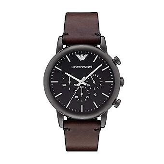 Emporio Armani men's watch quartz watches with analog Display and black leather bracelet ar1919