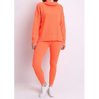 Roll-Hals Kabel stricken Loungewear Set Neonorange