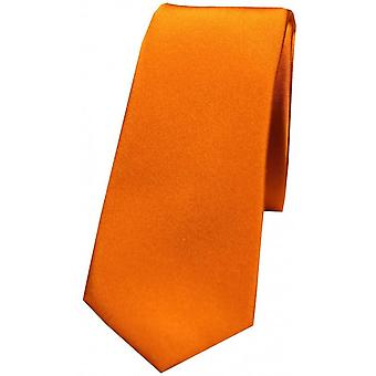 David Van Hagen Plain Thin Satin Tie - Copper