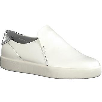 Marco Tozzi Plain White Slip On Trainer Shoe - 24725