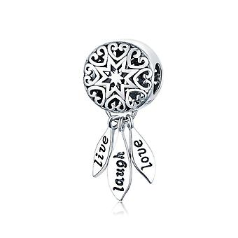 Ciondolo in argento Sterling Live, Laugh, Love