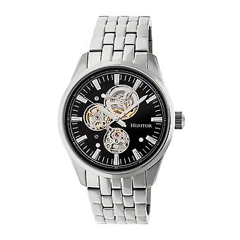 Heritor automático Stanley semi esqueleto pulseira relógio - prata/preto