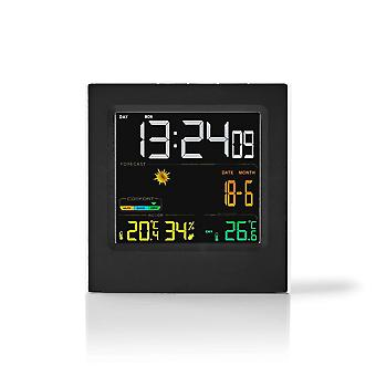 Nedis Weather Station | Wireless Sensor | Alarm Clock | Weather forecast WEST404BK