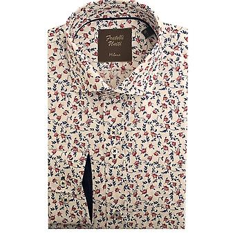 Fratelli Uniti Small Rose Pattern Pure Cotton Mens Shirt