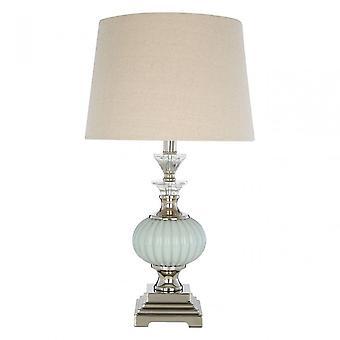 Premier Home Ulyana Table Lamp - EU Plug, Crystal, Glass, Iron, Linen