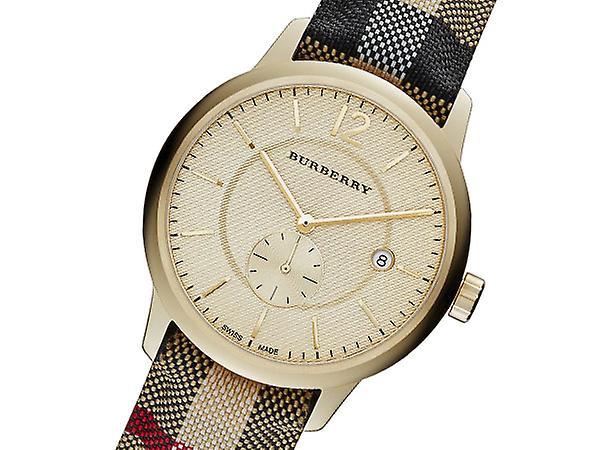 Burberry Bu10001 Honey Check Fabric-coated Leather Unisex Watch