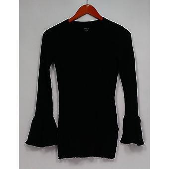 Du Jour suéter crew cuello rib punto suéter w / mangas de campana negro A295382