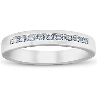 1 / 4ct бриллиант свадьба 14 k белое золото стекируемых канал установите кольцо высоко полированного