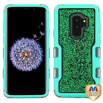 MYBAT Natural Teal Green/Green Sparkles Liquid Flowing TUFF Quicksand Glitter Hybrid Case for Galaxy S9 Plus