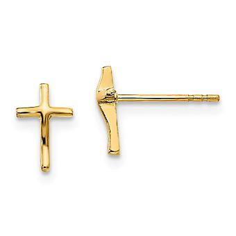 14k keltainen kulta satiini takaisin kiillotettu uskonnollinen usko Risti Post korvakorut mittaa 8x5mm leveä koru lahjoja naisille