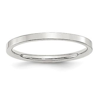 925 Sterling Silver 2mm Comfort Fit Flat Band Ring - Ring Size: 4 to 13.5