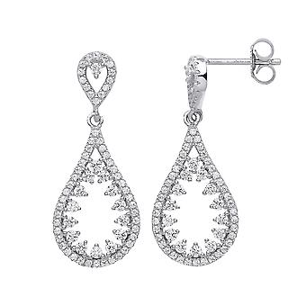 Jewelco London Ladies Rhodium Plated Sterling Silver Cubic Zirconia Icicle Tear Drop Earrings
