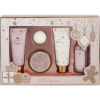 Style & Grace Utopia Pamper Me Gorgeous Gift Set - 110ml Body Wash, 110ml Body Lotion, 120ml Bubble Bath, 60ml Body Scrub and 50g Bath Fizzer