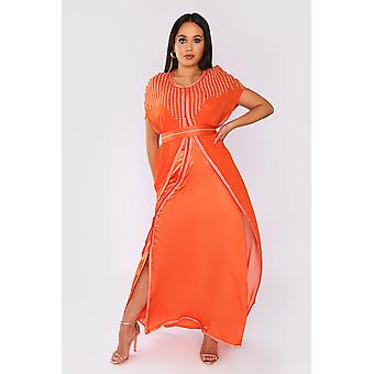 Lebssa vanessa short sleeve embroidered long occasion wear maxi dress and belt in orange