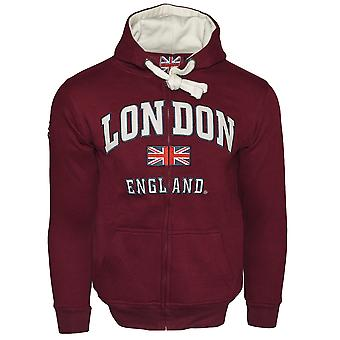 Le129zmow unisex london england zipped hooded sweatshirt maroon