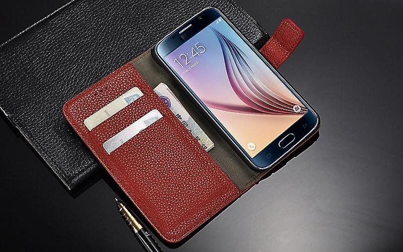 Galaxy S6 cases wallet shell leeche cover brown