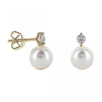 Luna-Pearls - Studs Brilliant 0.25ct - Yellow Gold 750 Akoya Beads 8-8.5 mm