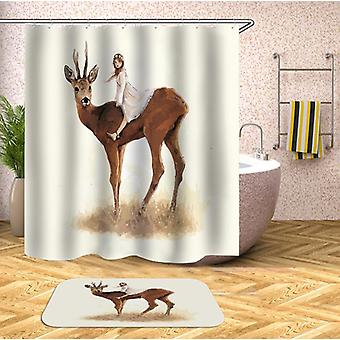 Girl Riding A Deer Shower Curtain